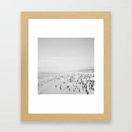 Santa Monica in Black and White Framed Art Print