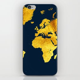 Royal Blue and Gold Map of The World - World Map for your walls iPhone Skin