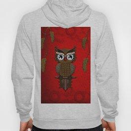 Wonderful steampunk owl on red background Hoody