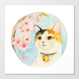 """Hanami"" - Calico Cat and Cherry Blossom Canvas Print"