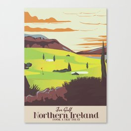 'For Golf' Northern Ireland Travel poster Canvas Print
