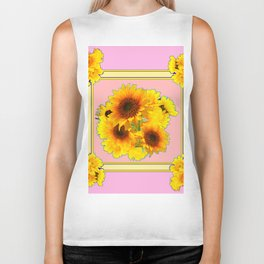 MODERN PINK YELLOW SUNFLOWER BOUQUETS Biker Tank