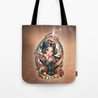 kiss Tote Bags featuring Waiting For Loves True Kiss by Tim Shumate