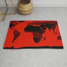 World Map Red & Black Rug