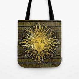 Apollo Sun Symbol on Greek Key Pattern Tote Bag