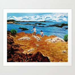 Clouds, pillows flung in air  and sky  closes on the deserted beach Art Print