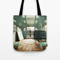 door Tote Bags featuring Emergency Door by Rachel Bellinsky