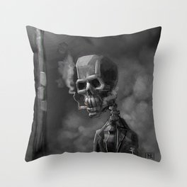 Noir Skeleton Digital Illustration Throw Pillow