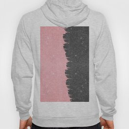 Pretty Girly Pink Black Faux Glitter Brushstroke Hoody