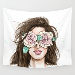 white roses in their eyes (female version) Wall Tapestry