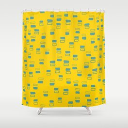 Happiness In Shapes 3 - Yellow Light Blue Shower Curtain