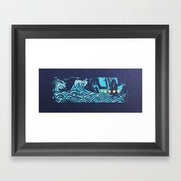 Wave and Boat Linocut Framed Art Print