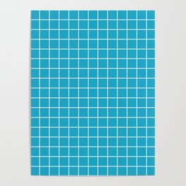 Pacific blue - turquoise color - White Lines Grid Pattern Poster