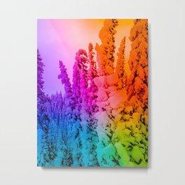 rainbow winter forest gradient 0862 Metal Print
