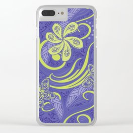 Polynesian Kiwi Lime Tropcal Floral Clear iPhone Case