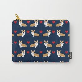 Corgi love hearts valentines day pet gifts love welsh corgi dog breeds pet friendly pattern Carry-All Pouch