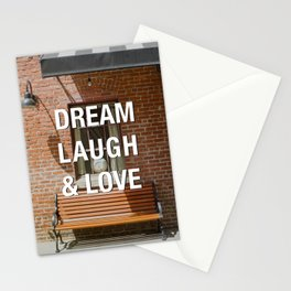 Afternoon Light Street Photography Quote Dream Laugh & Love Stationery Cards