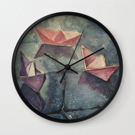Boats on the wet sett Wall Clock