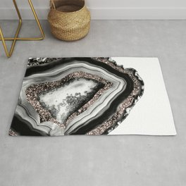 Agate Rose Gold Glitter Glam #4 #gem #decor #art #society6 Rug