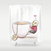 picard Shower Curtains featuring Tea, Earl Grey, Hot by Cattifer