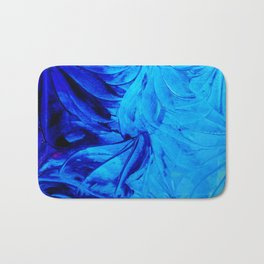 PETAL PINWHEELS - Deep Indigo Blue Royal Blue Turquoise Floral Pattern Swirls Ocean Water Flowers Bath Mat