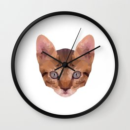 Low Poly Kitten Wall Clock