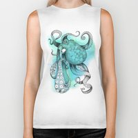 octopus Biker Tanks featuring Octopus by Emily Golden