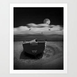 Row Boat on a Sandy Beach in Biscayne Bay Florida Art Print