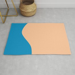 Curve in Blue and Peach Rug