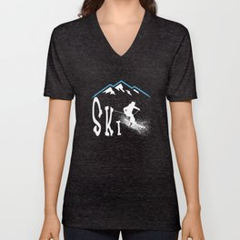 Downhil Skiing Unisex V-Neck