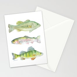 Fishing Watercolor Painting Stationery Cards
