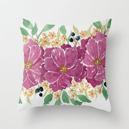 """""""Japanese Maple & Blueberry"""" loose floral bouquet watercolor illustration Throw Pillow"""