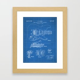 Guitar Tremelo Patent - Guitarist Art - Blueprint Framed Art Print