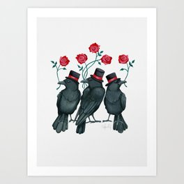 Ravens and Roses Red Art Print