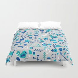 Cluster Camping Themed Graphic Duvet Cover