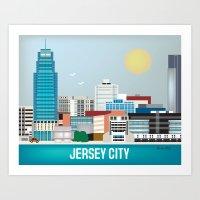 Jersey City, New Jersey - Skyline Illustration by  Loose Petals LLC Art Print