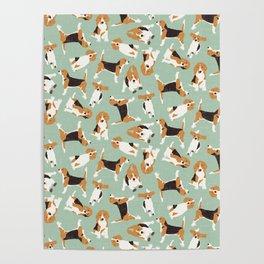 beagle scatter mint Poster