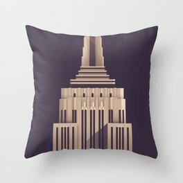 Empire State Building New York Art Deco - Vintage Dark Throw Pillow