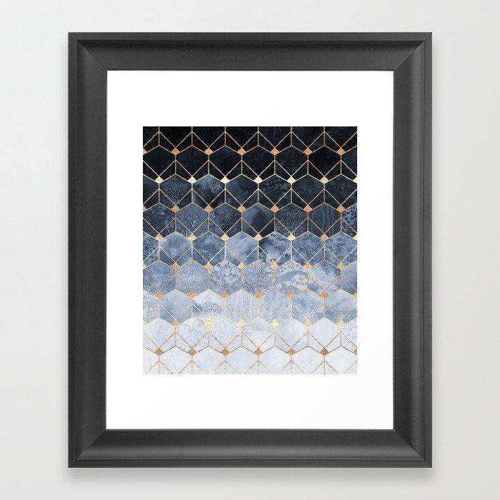 Blue Hexagons And Diamonds Gerahmter Kunstdruck