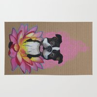boston terrier Area & Throw Rugs featuring Zen Boston Terrier by PaperTigress