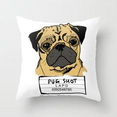 Pug Shot Throw Pillow