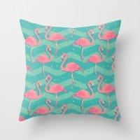flamingo Throw Pillows featuring Flamingo by Julia