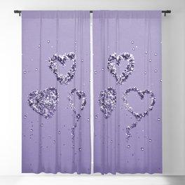 Ultra Violet LOVE Glitter Hearts #1 #shiny #decor #art #society6 Blackout Curtain