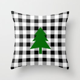 Christmas Tree - black buffalo check Throw Pillow