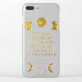 Moon Phases Gold Clear iPhone Case