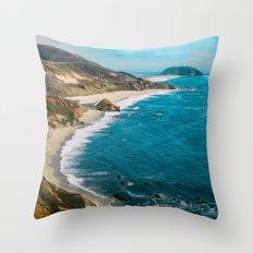 California Coastline Dreaming Throw Pillow