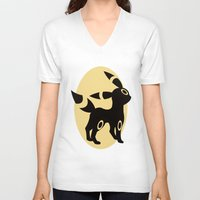umbreon V-neck T-shirts featuring Umbreon by Polvo