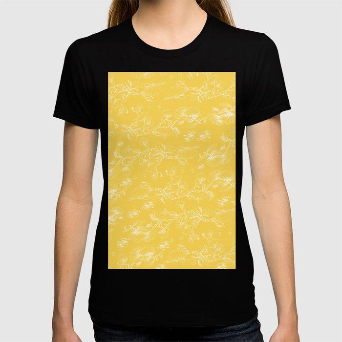 Pohutukawa flowers on gold T-shirt