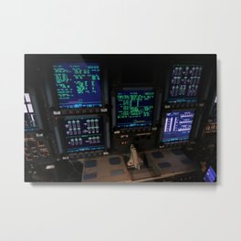 In Orbiter Processing Facility-2 at NASAs Kennedy Space Center in Florida the consoles on space shut Metal Print