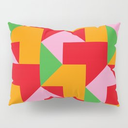 Green red Orange pink coloured mosaic with edges and squares and rectangular shapes and others Pillow Sham